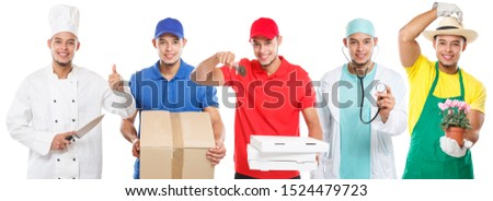 Group of young people occupations occupation collection profession doctor cook job isolated on a white background #1524479723