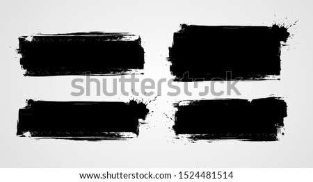 Set of four black grunge banners for your design. Abstract painted background templates. Horizontal banners Royalty-Free Stock Photo #1524481514