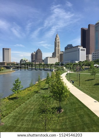 Downtown Columbus, Ohio skyline and river
