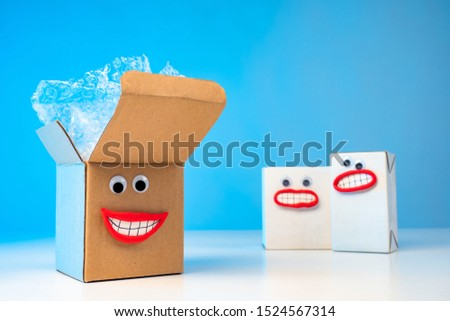 Emoji. Freight forwarding services. Boxes with emotions. Concept - Safety during transportation. Happy boxes. Delivery of goods. Forwarding company. Logistic services. Work Forwarder. Cargo. #1524567314