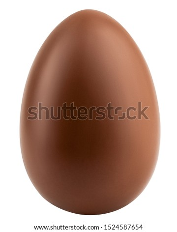 Chocolate egg isolated on white background, clipping path, full depth of field Royalty-Free Stock Photo #1524587654