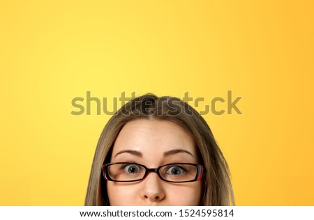 closeup portrait headshot cropped face above lips of cute happy woman in glasses looking #1524595814