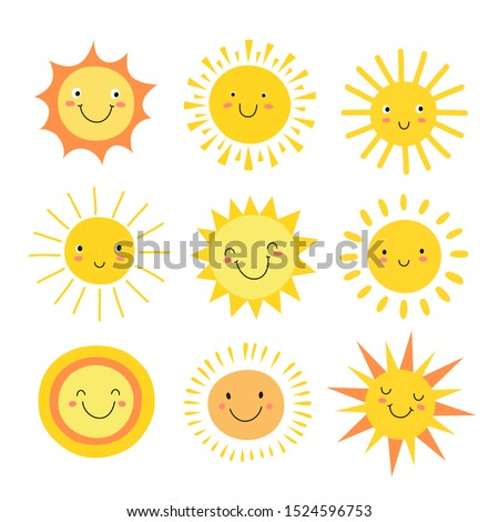 Sun emoji. Funny summer sunshine, sun baby happy morning emoticons. Cartoon sunny smiling faces icons