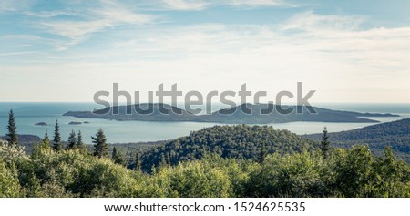 Scenic view of Pic Island on Lake Superior from the Overlook at Neys Provincial Park, Ontario, Canada