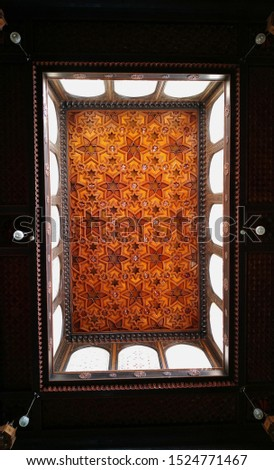 Cairo,Egypt-July 22,2019;wide shot of the roof of reception hall inside prince Mohamed Ali palace in Rhoda Manyl  #1524771467