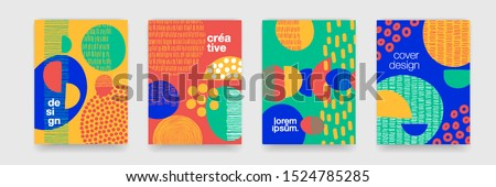 Fun doodle pattern backgrounds with abstract shapes and colors. Modern trendy cartoon pattern for funny brochure cover template, vector creative design #1524785285