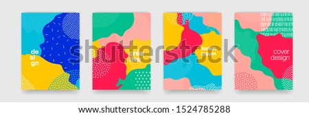 Fun doodle pattern background with abstract shapes and colors. Modern vector pattern for funny brochure cover template design #1524785288