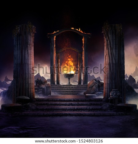 The eternal fire, dark atmospheric landscape with stairs to ancient columns and font of fire, fantasy background Royalty-Free Stock Photo #1524803126