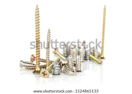 Lot of whole glossy metallic glossy bolt city isolated on white background #1524865133
