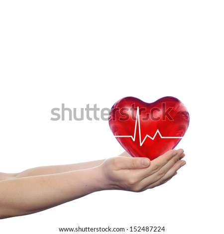 Concept or conceptual 3D red human heart sign or symbol with pulse held in human man or woman hands isolated on white background #152487224