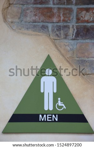 Men's restroom sign on the wall. #1524897200