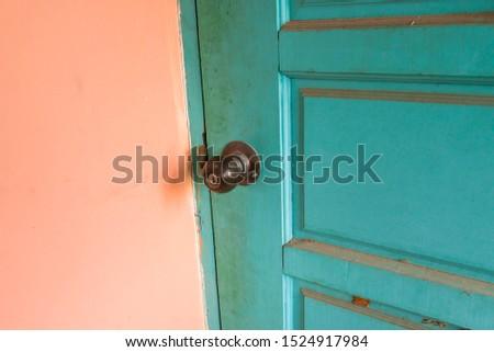 Old Vintage Door Unusual Green Color #1524917984