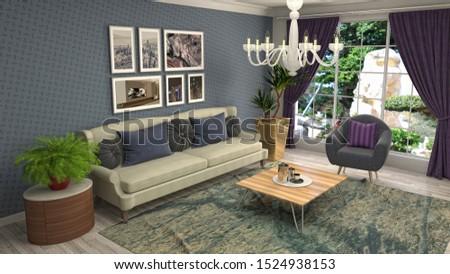 Interior of the living room. 3D illustration. #1524938153