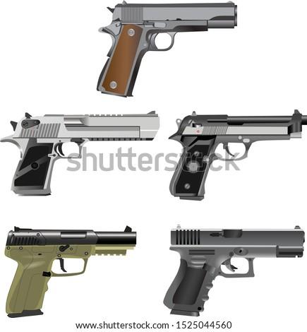 Semi Automatic Pistol Set, game battle ground, airsoft hand gun - Vector