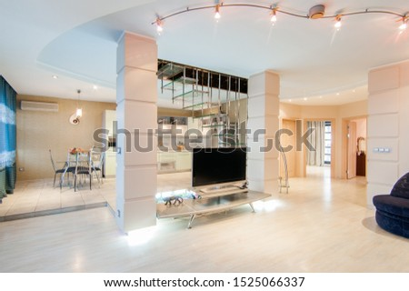 Russia, Moscow- May 12, 2018: interior room apartment. standard repair decoration in hostel #1525066337