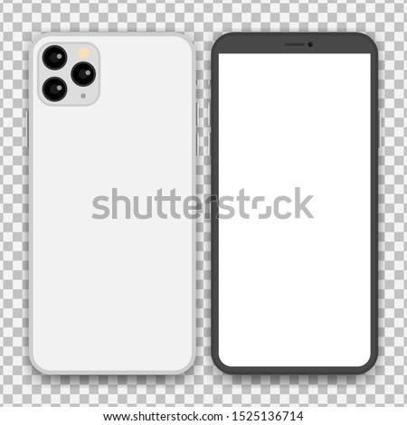 Phones placed separately with backgrounds, vector.