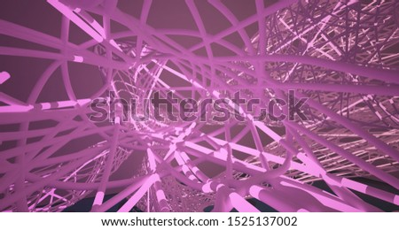 Abstract architectural smooth white interior of a minimalist wires with color gradient neon lighting and water. 3D illustration and rendering. #1525137002