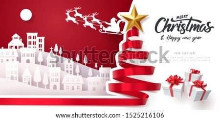 Red ribbon roll to made Christmas tree form with paper art of Santa Claus and Merry Christmas and happy new year calligraphy, vector art and illustration. #1525216106