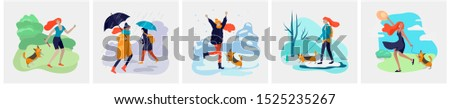 Young woman with her dog in various weather conditions. Girl in seasonal clothes and enjoys walking on street in rain, snowfall, summer heat. Colorful vector cartoon illustration #1525235267