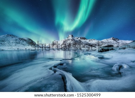 Aurora Borealis, Lofoten islands, Norway. Mountains and frozen ocean. Winter landscape in the night time. Northen light - image #1525300499