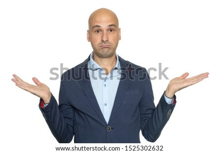 Bald man isolated on white background being at a loss, showing helpless gesture with hands. He does not know what to do. I don't know.  #1525302632