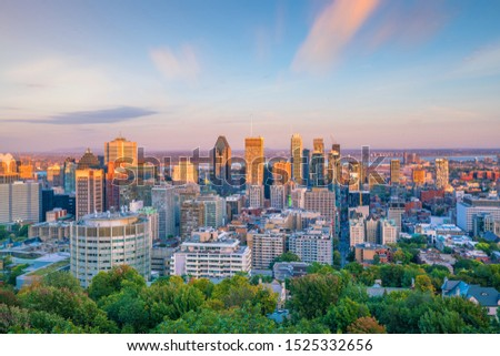 Panoramic skyline view of downtown Montreal from top view at sunset in Canada