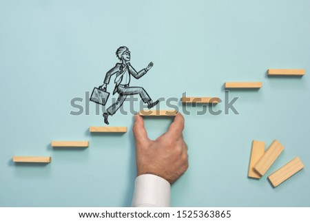 Career Planning and Challenge Concept. Businessman Getting Help Achieving Goals. #1525363865