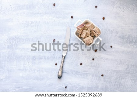 Flavored Halva pieces top view or overhead view composition with copy space   #1525392689