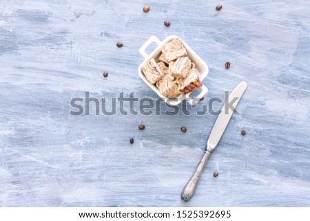 Flavored Halva pieces top view or overhead view composition with copy space   #1525392695