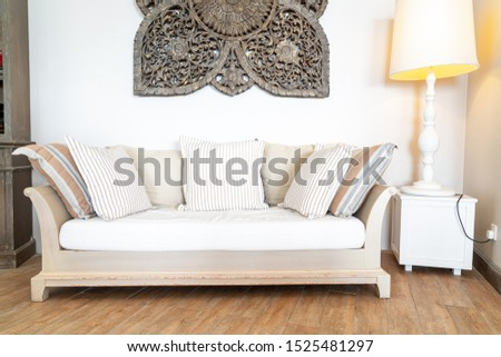 Comfortable pillow on sofa chair decoration interior of room #1525481297