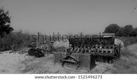 Old rusted farm equipment on Cyprus. also in monochrome. #1525496273