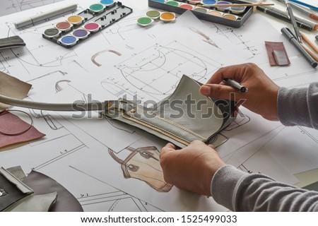 Designer stylish sketch Drawn design template pattern made leather clutch bag handbag purse Woman female Fashionable Fashion Luxury Elegant accessory.                                #1525499033