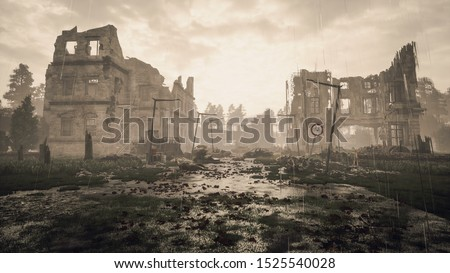 Ruins of a city. Apocalyptic landscape 3d render , 3d illustration concept #1525540028