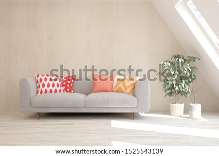 Stylish room in white color with sofa. Scandinavian interior design. 3D illustration #1525543139