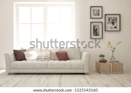 Stylish room in white color with sofa. Scandinavian interior design. 3D illustration #1525543160