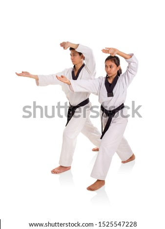 Male and female martial art practitioners using fingertips strike technique, full length portrait on white background #1525547228
