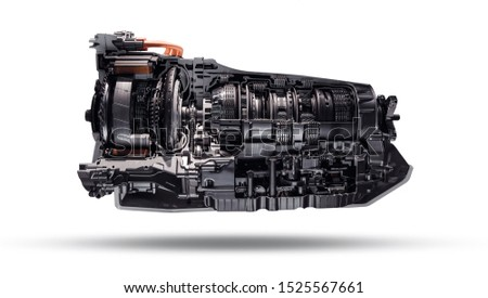 Automatic transmission gearbox in cross section. Automobile transmission gearbox on white background. #1525567661