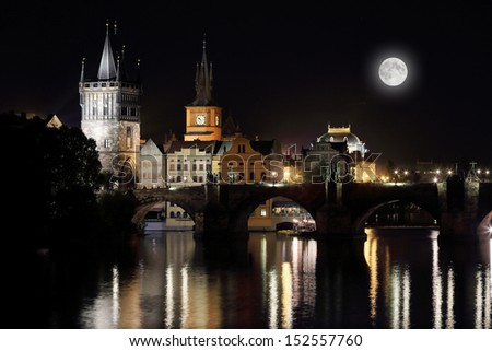 The night View on bright Prague Old Town with the Charles Bridge, its Bridge Tower and the National Theater with the Moon, Czech Republic #152557760