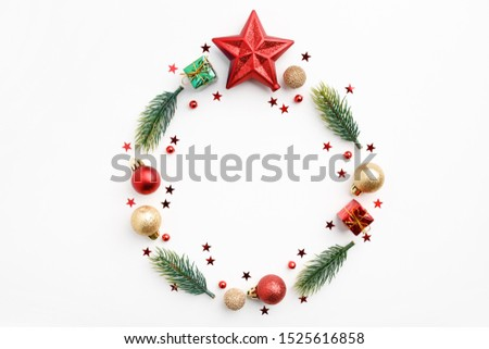 Christmas Round Frame from Natural Branches, Christmas Balls and Decorations isolated on white background. Flat Lay #1525616858