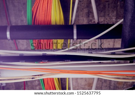Bundles of network cables with cable ties #1525637795