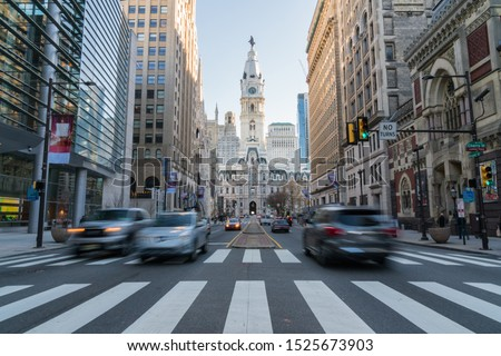 Philadelphia city hall with old building and trafic, Philadelphia, Pennsylvania,United states of America, USA,clock tower, Tourist Architecture and building with tourist concept #1525673903