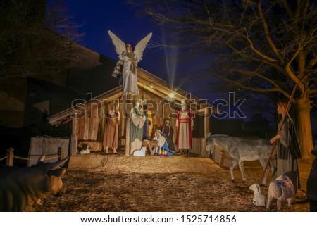 Christmas nativity scene by the church #1525714856