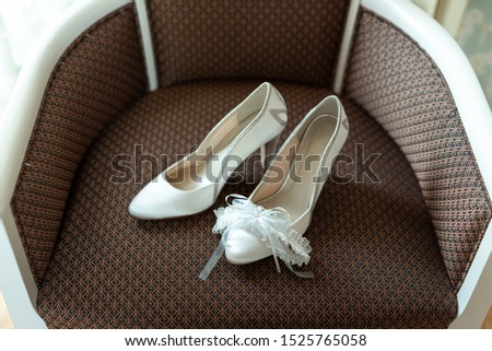 Wedding. The room of the bride. Wedding shoes  #1525765058