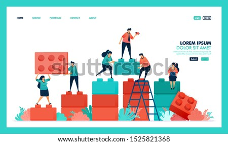 Vector design of game puzzel, business chart. people collaborate to solving problem, complete puzzle game to build and developing business intelligence or BI. strategy in achieving growth success Royalty-Free Stock Photo #1525821368