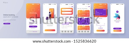 Online booking service mobile application template. UI, UX, GUI design elements. Travel application wireframe. User Interface kit isolated on grey background. Vector eps 10. #1525836620