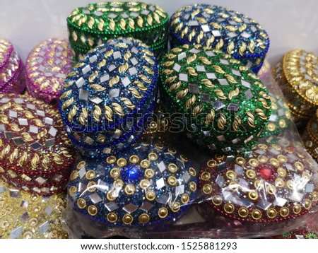 Indian traditional colorful jewelry boxes #1525881293