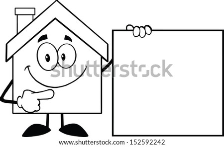 Black And White House Cartoon Mascot Character Showing A Blank Sign. Raster Illustration