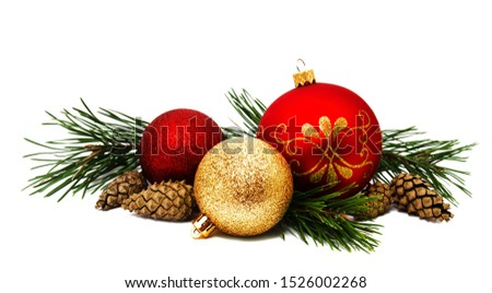 Christmas decoration golden yellow and red balls with fir cones and fir tree branches isolated on a white background  #1526002268