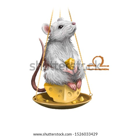 Libra creative digital illustration of astrological sign. Rat or mouse symboll of 2020 year signs in zodiac. Horoscope air element. Logo sign with scales. Graphic design clip art for web and print
