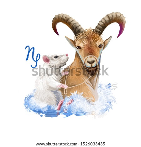 Capricorn creative digital illustration of astrological sign. Rat or mouse symboll of 2020 year signs in zodiac. Horoscope earth element. Logo with sea-goat. Graphic design clip art for web and print